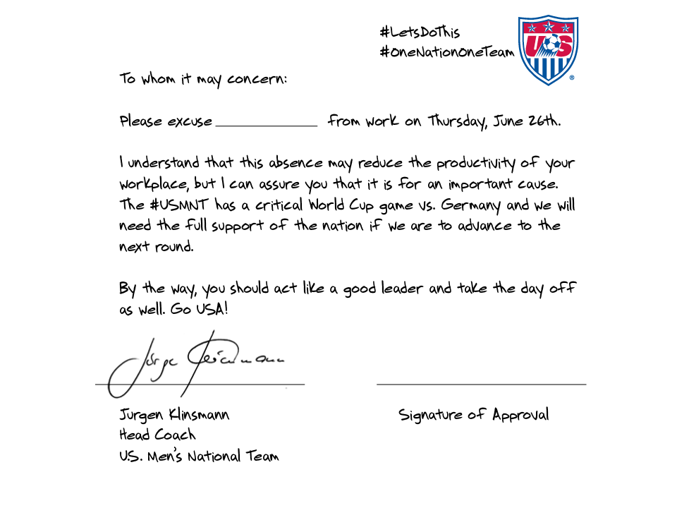 Us soccer coach jrgen klinsmann has note to excuse fans from work soccer2 spiritdancerdesigns Image collections