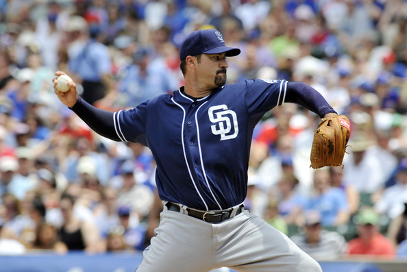 Jeff Suppan pitching for the Padres in 2012