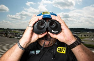 Nascar spotter Mike Calinoff, photographed on the roof of the grandstand at Charlotte Motor Speedway for Road and Track on 05.23.13...05.23.13 All photographs by Peter Taylor.05.21.13 All photographs by Peter Taylor