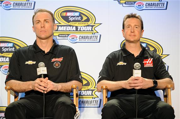 Kevin Harvick and Kurt Busch during SHR's media day