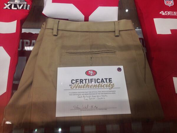 49ers-selling-Jim-Harbaughs-game-worn-khakis