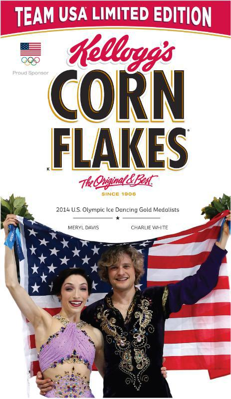 KELLOGG COMPANY MERYL DAVIS AND CHARLIE WHITE CORN FLAKES BOX