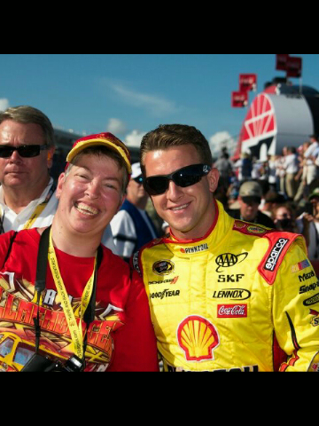 Renee Metzgar spending time with her favorite driver, AJ Allmendinger