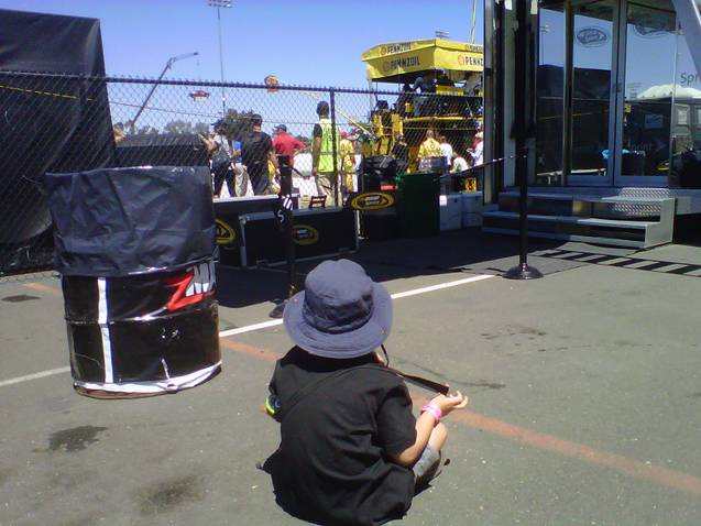 Heather's son Thomas watches after AJ prior to the Sonoma race